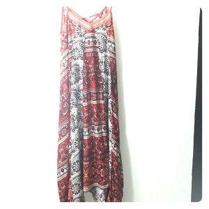Franchescas boho hippy dress red white dress small